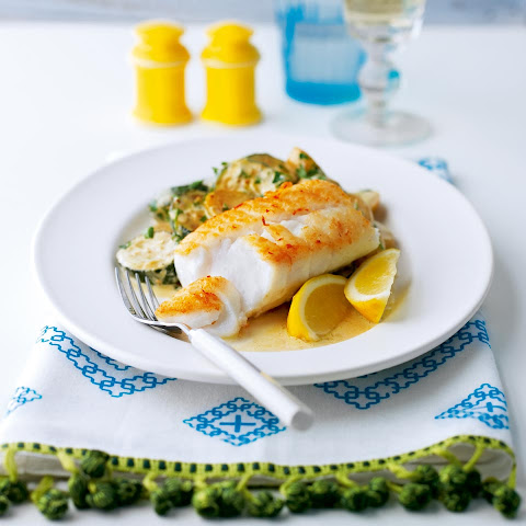 Pan-fried Cod With Creamy New Potatoes And Courgettes