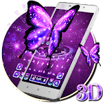 3D Neon Purple Shiny ?Butterfly Keyboard Theme Icon