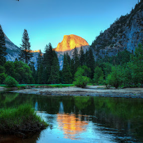 Half Dome Sunset from Merced River Bank by Wenjie Qiao - Landscapes Mountains & Hills ( half dome, yosemite )