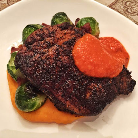 Spice Crusted Pork Chop with Red Pepper Sauce