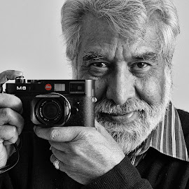 Afzal and Leica by Graham Sivills Fimis - People Portraits of Men ( blackandwhite, spot color, afzal, leica, mono, spot colour )