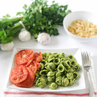 Garlic and Parsley Pesto Orrechiette with Grilled Tomatoes