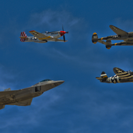 Heritage Flight by Tom Anderson - Transportation Airplanes ( day 2, calfornia, usaf, fighter, chino, planes of fame 2014 air show, usaf heritage flight,  )