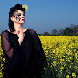 Woman in Black  by Stephanie Veronique - People Body Art/Tattoos ( fashion, yellow, landscape, face art, people, field, make up, girl, woman, artistic, lady, avant garde, vreative )