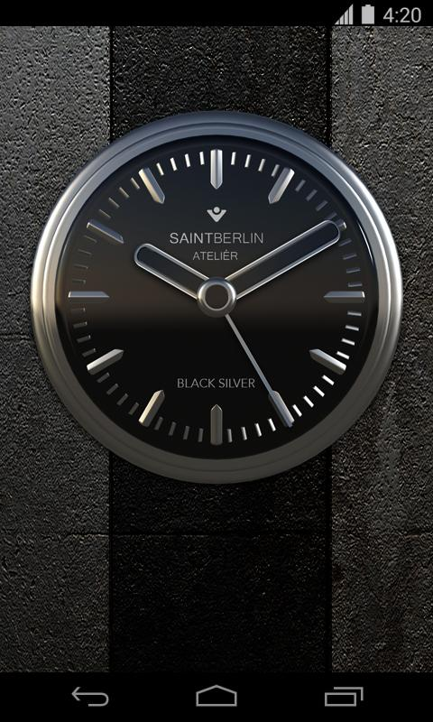 Black Silver Clock Widget Screenshot 1