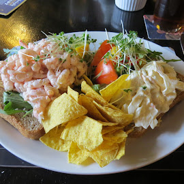 Prawn Open Sandwich by Angie Keverne - Food & Drink Plated Food ( sandwich, food, plate, prawn, pub, meal )