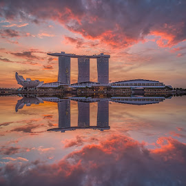 Marina Bay Sands by Gordon Koh - City,  Street & Park  Skylines ( clouds, building, reflection, tall building, mbs, asia, marina bay sands, long exposure, hotel, travel, architecture, singapore )