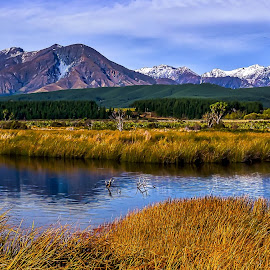 Scenic by Keith Walmsley - Landscapes Mountains & Hills ( clouds, water, mountain, grass, snow, trees, landscape )