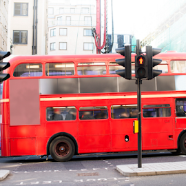Red vintage bus in London.  by Deyan Georgiev - Transportation Automobiles ( destinations, famous, routemaster, old, taxi, bus, europe, street, decker, transportation, road, travel, capital, historic, attraction, city, england, kingdom, iconic, transport, black, classic, icon, uk, symbol, vintage, british, white, tourism, traditional, double, landmark, urban, tourist, traffic, red, london, route, public, big, english, britain )