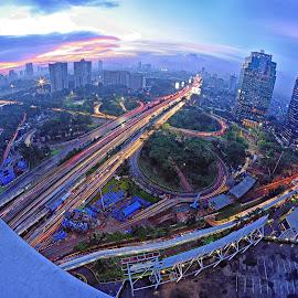 Semanggi by Saiful N. Firmansyah - City,  Street & Park  Night ( semanggi, jakarta, cityscape, bridge, nightscape )
