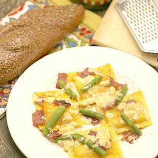 Butternut Squash Ravioli with Asparagus & Turkey Bacon