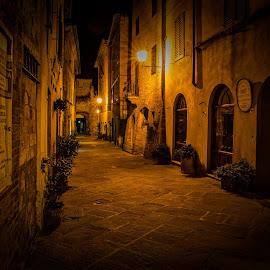 Old italian street by Pascal Hubert - City,  Street & Park  Night