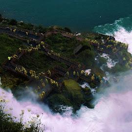 View from above Niagara Falls by Amber Thomas - Buildings & Architecture Other Exteriors ( niagara falls, waterfall, falls, niagara, people )