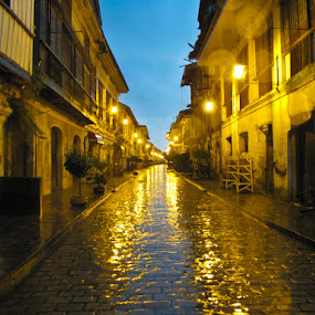 A Storm in an Old Town by Johannes Dayrit - Buildings & Architecture Public & Historical