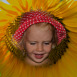 girl in the sunflower by LADOCKi Elvira - Digital Art People ( girl, people )