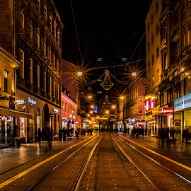 Ilica street by Mario Horvat - City,  Street & Park  Street Scenes ( lights, rails, night, street scene, zagreb )