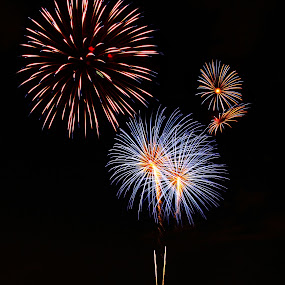 The Booms! by Jen Millard - Abstract Fire & Fireworks ( colors, explosion, fireworks, july, fire )
