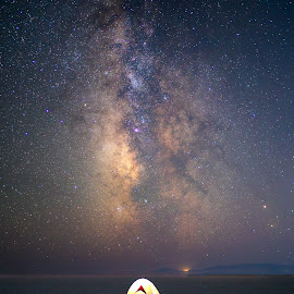 Camping Under the Stars by Ryan Moyer - Landscapes Starscapes ( camping, bonneville salt flats, utah, stars, astrophotography, astroscape, milky way, nightscape )
