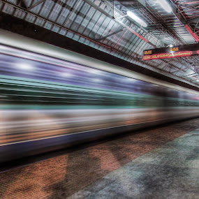 Speed by Kallol Bhattacharjee - Transportation Trains ( platform, low light., hdr, night photography, station,  )