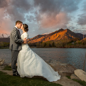 The Perfect Day by Glenn Pearson - Wedding Bride & Groom ( bridals, wedding formals, wedding day, bride and groom, mountain and lake )