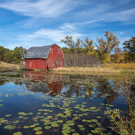 Forgotten But Still Standing by Larry Kaasa - Buildings & Architecture Decaying & Abandoned ( clouds, old, red barn, red, barn, fall, buildings, landscape, forgotten, pond, abandoned )