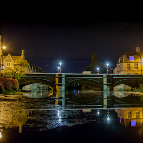 Reflecting on the past by John Walton - City,  Street & Park  Night ( water, reflection, stamford, heritagefocus, night, bridge )