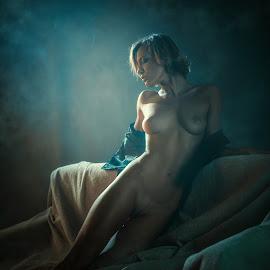 Smoke cigarettes by Dmitry Laudin - Nudes & Boudoir Artistic Nude ( body, face, girl, figure, nude, silhouette, hair, smoke. shine )