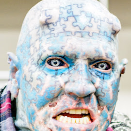 Puzzle Man by Robert Klein - People Body Art/Tattoos ( blue man, horns, blue, tattoos, louisville, tattoo, man, portrait )