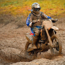 Muddy Bloody Motocross by Marco Bertamé - Sports & Fitness Motorsports ( uphill, mud, rainy, motocross, motorcycle, clumps, race, accelerating, competition )