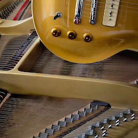 Duet  0070 by Karen Celella - Artistic Objects Musical Instruments ( music, piano, focus stacking, duet, guitar, instruments,  )