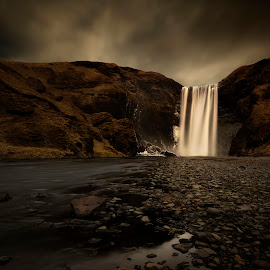 Skogafoss by Pinc Csépe-Káldy - Landscapes Travel ( clouds, iceland, nature, waterfall, landscape )