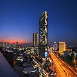 City of Jakarta by Jose Hamra - City,  Street & Park  Skylines ( skyline, sunset, blue hour, jakarta, city, uob )