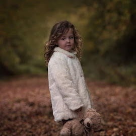 Autumn  by Una Williams Photos - Babies & Children Child Portraits ( girl child, teddy bear, autumn leaves, trees, children )