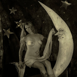girl and moon by Jim Oakes - Nudes & Boudoir Artistic Nude ( moon, mixed light, model, nude, female )