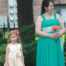 Flower Girl and Bridesmaid by Bonnie Burgeson - Wedding Ceremony
