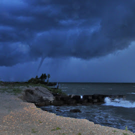 Waterspout over Stormy Lake by Carolyn Taylor - Landscapes Weather