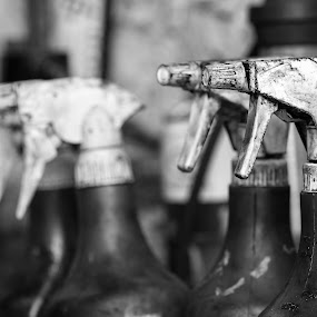 Spray by Josh Hilton - Products & Objects Industrial Objects ( greyscale, spray, spray bottles, black and white, bottles )