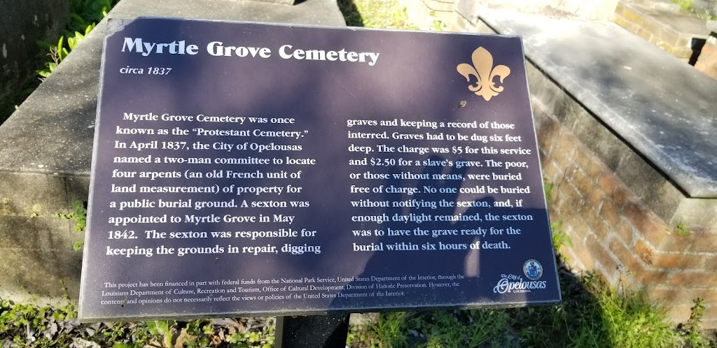 Circa 1837  Myrtle Grove Cemetery was once known as the