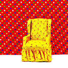 Dollhouse Chair by Tiffany Serijna - Artistic Objects Furniture ( chair, wild, red, pattern, dollhouse, yellow )