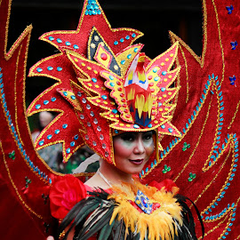 Women in Red by Impola Alexander - People Street & Candids ( annual, carnival, makeup, street, tourism, people, women, bandung, street photography, tourist, red, event, indonesia, asia, costume, festival, africa, public, world )