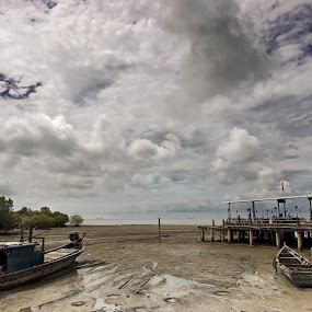Seaside by Tan KM - Landscapes Weather ( clouds, mud, trees, landscape, vessels )