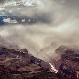 A Grand Canyon Moment by Grazina Wade - Landscapes Cloud Formations ( national park, arizona, lipan point, mist, grand canyon )