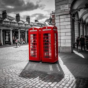 Box Clever by Matt Cooper - City,  Street & Park  Street Scenes ( covent, red, box, garden, telephone )