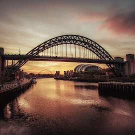 April Sunrise  by Adam Lang - Buildings & Architecture Bridges & Suspended Structures ( river tyne, tyneside, gateshead, tyne bridge, newcastle, sunrise )