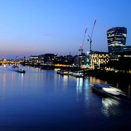 Nightfall on the Thames by DJ Cockburn - City,  Street & Park  Night ( 20 fenchurch street, twilight, dusk, lights, england, skyscraper, london, london bridge, sunset, tower bridge, hms belfast, night, long exposure, walkie-talkie, river thames )