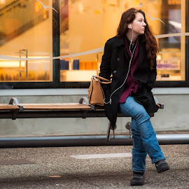 Waiting at the Bus Stop by Garry Dosa - People Street & Candids ( urban, person, sitting, winter, female, waiting, outdoors, people, city )