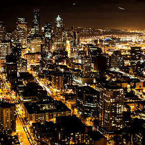 Seattle at night by Kyley Hansen - City,  Street & Park  Vistas ( seattle, street, night, beauty, city )
