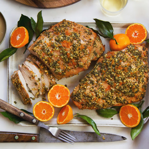 Herb-Orange Turkey Breast with Roasted Pear Gravy