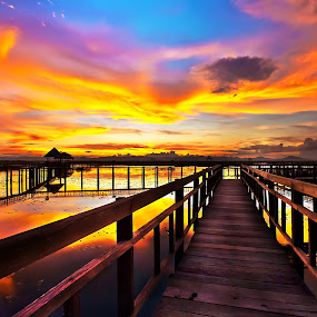 The Bridge by Arthit Somsakul - Landscapes Cloud Formations ( sky, line, bridge, blue red, woiod )