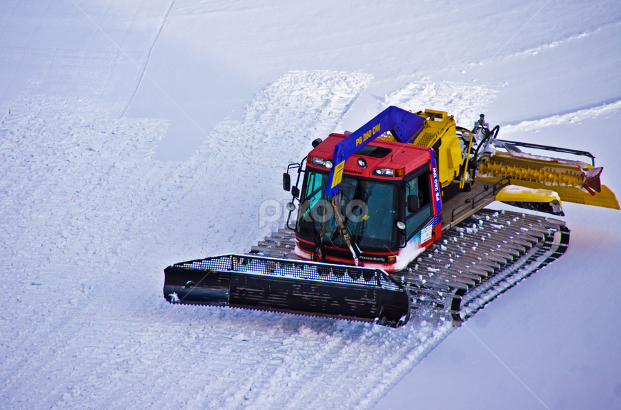Snow Grooming by Petra Bensted - Products & Objects Technology Objects ( technology, winter, cold, snow, snow groomer, machine )